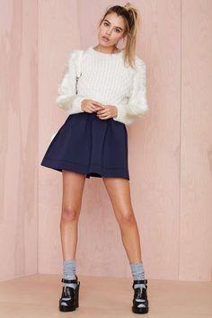 Nasty Gal Nicki Skater Skirt - Navy