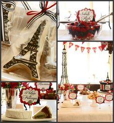 Parisian Themed 1st Birthday Party with Lots of Really Cute Ideas via Kara's Party Ideas | KarasPartyIdeas.com #Paris #EiffelTower #FrenchParty #PartyIdeas