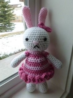 Made to Order-Lacy the Bunny Crocheted Toy by CurlyTopCorner