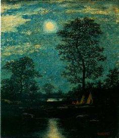 RALPH ALBERT BLAKELOCK (1847-1919) Teepees in the Moonlight