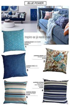 Que tal deixar a casa mais aconchegante? Tons de azul trazem tranquilidade e nunca saem de moda! VISITE A LOJA: 1- ALMOFADA BELIZE COM ESTAMPA GEOMÉTRICA 2- ALMOFADA VERONA COM ESTAMPA FLORAL 3-ALM…