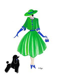 Di Kaye - Art Deco Fashion - Art - Parisien Chic - Gigi and Sooty by Di Kaye