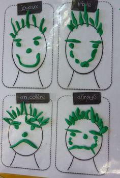 réaliser 4 expressies différentes en pâte à modeler in 2020 Emotions Preschool, Emotions Activities, Educational Activities, Toddler Activities, Learning Activities, Preschool Activities, Art For Kids, Crafts For Kids, Feelings And Emotions