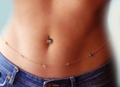 Gemstone Belly Chain Body jewelry  Waist Chain  Gold by Ninnos, $20.00