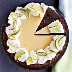 Classic key lime pie gets a fun twist, thanks to a chocolate graham cracker crust and a tangy whipped cream topping.