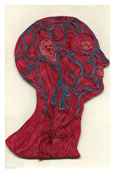 veins of the head poster, Doctor Decor Print, Minimalist goth poster, Color anatomic illustration, Paper art print, quilled poster, 12x18 in. $20.00, via Etsy.