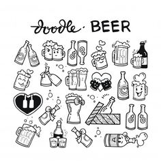 Beer doodle hand drawn Premium Vector Bff Tattoos, Time Tattoos, Friend Tattoos, Doodle Wall, Doodle Drawings, How To Make Doodle, How To Draw Hands, Bullet Journal Goals Page, Mononoke