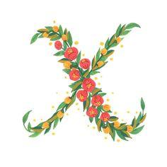 """""""Today's #handletteredABCs - X. #handletteredABCs_2016 #abcs_X #illustration #gouache #handlettering #floral"""""""