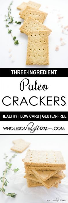 Three-Ingredient Paleo Crackers (Low Carb, Gluten-free) | Wholesome Yum - Natural, gluten-free, low carb recipes