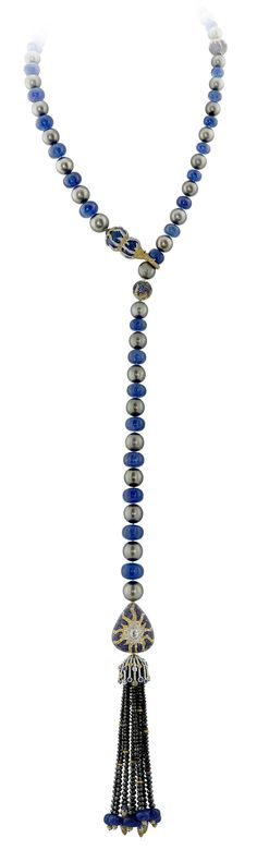 Another look for Alessio Boschi's Stardust lariat necklace, with Tahitian pearls, tanzanite beads, diamonds and sapphires.