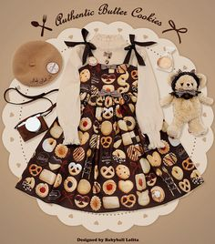 New Release: 【-#Butter #Cookies-】 #SweetLolita Jumper Dress Harajuku Fashion, Kawaii Fashion, Lolita Fashion, Cute Fashion, Estilo Lolita, Jumper Dress, Pretty Dolls, Cosplay Outfits, Kawaii Girl