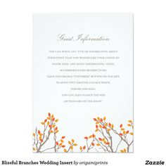Blissful Branches Wedding Insert 4.5x6.25 Paper Invitation Card
