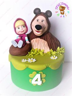 Masha e Orso - cake by Sheila Laura Gallo - CakesDecor Minnie Mouse Birthday Cakes, Baby Birthday Cakes, Bear Birthday, Baby First Birthday, 4th Birthday, Masha Cake, Masha Et Mishka, Marsha And The Bear, Buttercream Birthday Cake