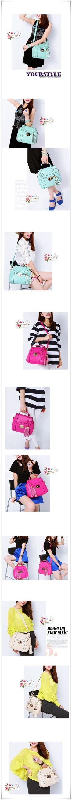 Designer Inspired 2013 Spring Handbag w/ Tassel. Also Wear as Shoulder or Messenger Bag. Available in Mint, Hot Pink, Creme. Only $38 & Free Shipping! #fashion