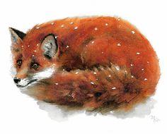 Renard roux peinture - Woodland Fox Print - Portrait de Fox - Fox Illustration. Decor moderne Fox - Kids Wall Art - Illustration animaux de la faune Aquarelle de Mira Guerquin