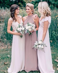 Loving the dusty mauve and taupe palette of these @joannaaugust dresses. Check out this classic wedding on the blog today! link in bio. // photo @mikecassimatis // florals @bloominbuckets Women, Men and Kids Outfit Ideas on our website at 7ootd.com #ootd #7ootd