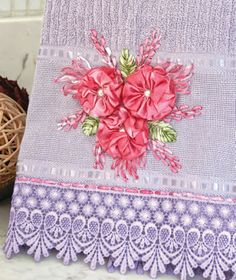 Nice gift idea - pretty ribbonwork flowers on towel! :)
