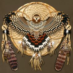 Amazingly detailed quadruple dream catcher, assuming art work made by a Native American. Red tail hawk feathers and an eagle made out of beads. Native American Beauty, Native American Crafts, American Indian Art, Native American History, American Indians, American Symbols, Native Indian, Native Art, Native Symbols