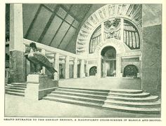 Grand Entrance to the German Exhibit, a magnificent color-scheme in marble and bronze. 1904 World's Fair