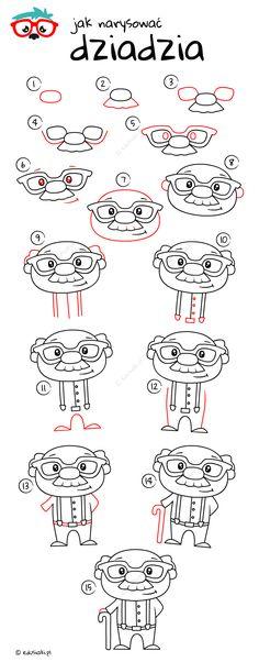 Jak Narysować Dziadzia - Instrukcja Krok Po Kroku #dladzieci #edusiaki #naukarysowania #dladziadzia #dziendziadka #jakrysowac #krokpokroku Bullet, Math, Words, Drawings, Draw, Math Resources, Sketches, Drawing, Portrait