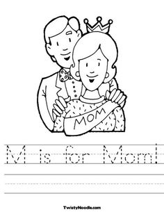 M is for Mom Worksheet from TwistyNoodle.com