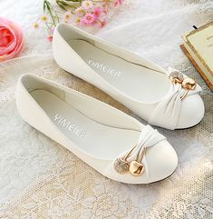 Cheap shoes fashion, Buy Quality shoes fashion women directly from China shoes large size Suppliers: ENMAYER Women's Fashion Shoes Woman Flats Spring Shoes Large Size Female Ballet Shoes Metal Round Toe Solid Casual Shoes Cute Flats, Cute Shoes, Me Too Shoes, Bow Flats, Mary Janes, Buy Shoes Online, Beautiful Shoes, Womens Flats, Girls Shoes