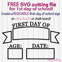 SVG Cut File for First Day of School Freebie cut file to create a reusable first day of school sign on chalkboard or whiteboard! By LillyAshleyFreebie cut file to create a reusable first day of school sign on chalkboard or whiteboard! By LillyAshley Cricut Vinyl, Cricut Air, Cricut Fonts, Cricut Craft, 1st Day Of School, School School, School Humor, Kindergarten First Day, Kindergarten Graduation