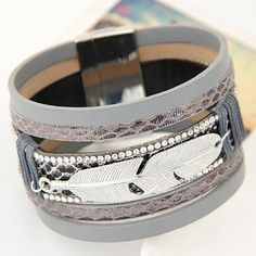 Gray Multilayer Bracelet Decorated with Feather Charm