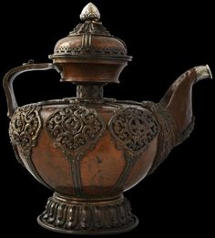 Copper Teapot with Bronze & Silver Mounts Tibet 18th-19th century