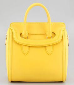 Alexander McQueen Medium Heroine Satchel Bag in Yellow
