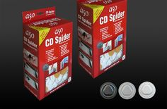 Plastic CD Spider (CD Holder, CD hub Vacuum), Self Adhesive.  PVC CD / DVD spider (CD Vacuum hub, CD/DVD Studs, CD mounting button) is used to attached CD and dvd's to file, folder, brochure and catalogue covers. Sticks itself. 3 colour options: Black, white and transparent.