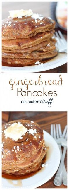 Gingerbread Pancakes from SixSistersStuff.com | These pancakes are a warm and delicious, perfect fall breakfast!