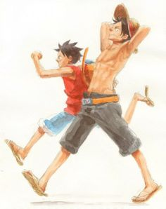 Tags: ONE PIECE, Monkey D. Luffy, Portgas D. Ace, Pixiv