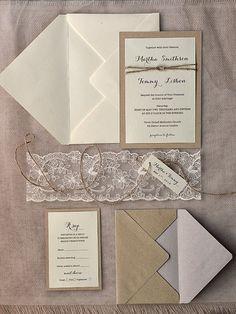 Rustic Wedding Invitations 20 Wedding por forlovepolkadots en Etsy