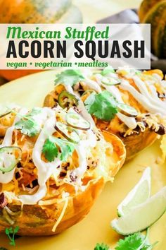Mexican Stuffed Acorn Squash | This vegetarian Mexican Stuffed Acorn Squash is easy as it is delicious. It's filled with sauteed onions, hearty vegetables, rice and beans and are baked to golden perfection. A simple yet tasty weeknight meal. || Prepare