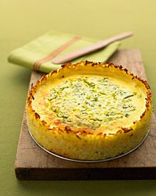goat cheese quiche with hash brown crust. my mom made this on Christmas morning and it was BRILLIANT!