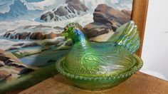 Indiana Green Iridescent Glass Chicken on a Basket Nest Candy Dish - Carnival Glass - Butter Dish - Easter Decor - Christmas Gift Idea by GratefulBlessingsVtg on Etsy