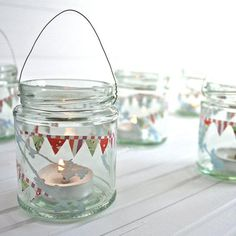 House Decorating with Washi Tape / Decora tu casa paper bunting, tea lights, glass jar ~ adorable! Bottles And Jars, Glass Jars, Tape Crafts, Diy And Crafts, Mason Jar Crafts, Mason Jars, Vasos Vintage, Party Deco, Craft Projects