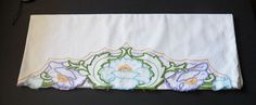 Vintage SINGLE Embroidered Water Lily Pillowcase for Crafts