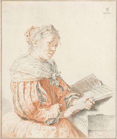 Cornelis Ploos van Amstel | Klavierspeelster, Cornelis Ploos van Amstel, Johannes Körnlein, 1767 | Een vrouw, gekleed in een japon met mouwen met splitten, aan het klavier.