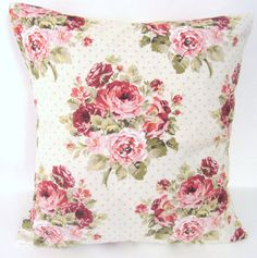 Hey, I found this really awesome Etsy listing at https://www.etsy.com/listing/218813108/cabbage-rose-with-polkas-vintage-pillow