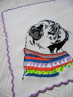 Embroidered Pet Portrait on Linen  Costum by StudioLegohead