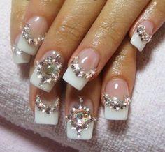 Luxury Rhinestone Crystal French Manicure Wedding Bridal Nail Design