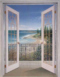 French Doors Seascape Trompe L'oeil