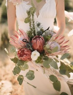 Desert protea bouquet like the neckline Budget Wedding, Wedding Tips, Boho Wedding, Wedding Blog, Floral Wedding, Wedding Bouquets, Wedding Flowers, Dream Wedding, Wedding Day