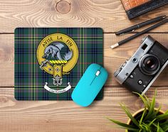 Rubber mousemat with Kennedy clan crest and tartan - only from ScotClans