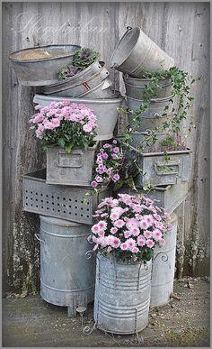 Thrilling About Container Gardening Ideas. Amazing All About Container Gardening Ideas. Garden Junk, Garden Pots, Rain Garden, Container Plants, Container Gardening, Vasos Vintage, Galvanized Decor, Galvanized Buckets, Galvanized Metal