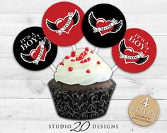 Instant Download Winged Heart Tattoo Cupcake by Studio20Designs