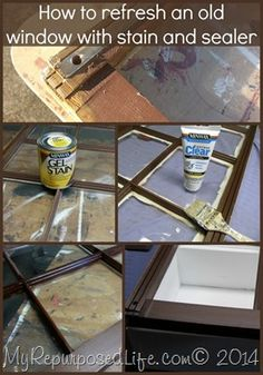 Using Gel stain to give an old window a new look (plus how to build a repurposed window cabinet)