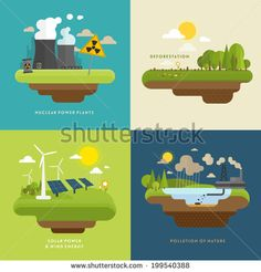 Ecology Concept Vector Icons Set for Environment, Green Energy and Nature Pollution Designs. Nuclear Power Plant and Deforestation. Flat Style. - stock vector